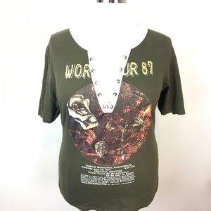 On Fire Faux Eagles Band T Lace Up Size 2X Olive